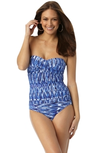 Anne Cole Indigo Tide Twist Front Bandeau One Piece Swimsuit