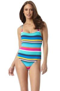 Anne Cole Multi Rugby Stripe X-Back Lingerie One Piece Swimsuit