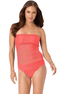 Anne Cole Watermelon Lace Crochet Bandeau One Piece Swimsuit