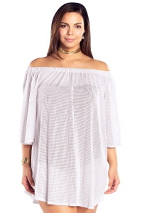 Always For Me White Plus Size Off the Shoulder Cover Up Tunic