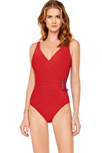 Gottex Gold Standard Red Surplice One Piece Swimsuit