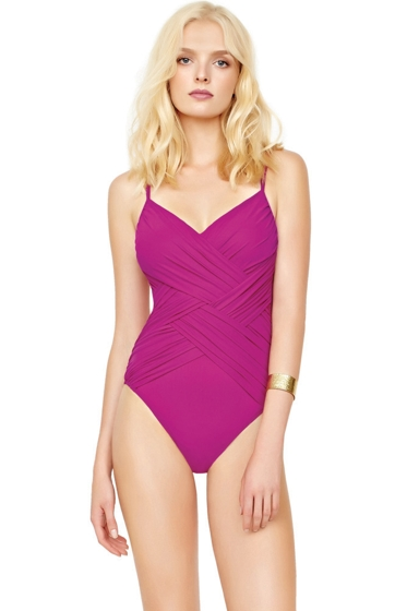 Gottex Lattice Magenta V-Neck One Piece Swimsuit