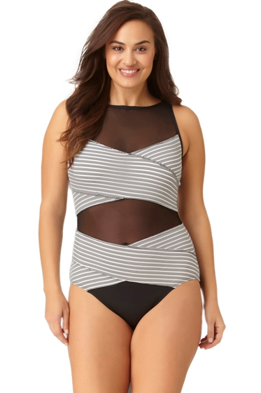Anne Cole Plus Size High Neck Mesh One Piece Swimsuit