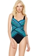 Full Coverage Gottex Snake Charmer Square Neck High Back One Piece Swimsuit