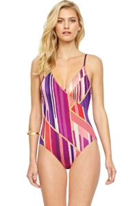 Gottex Art Deco Underwire Mesh Inset Surplice One Piece Swimsuit