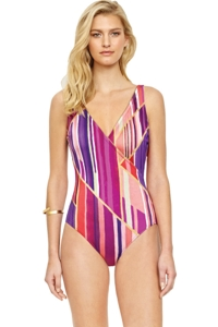 Gottex Collection Art Deco Surplice One Piece Swimsuit