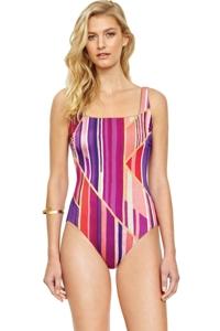 Gottex Art Deco Square Neck One Piece Swimsuit