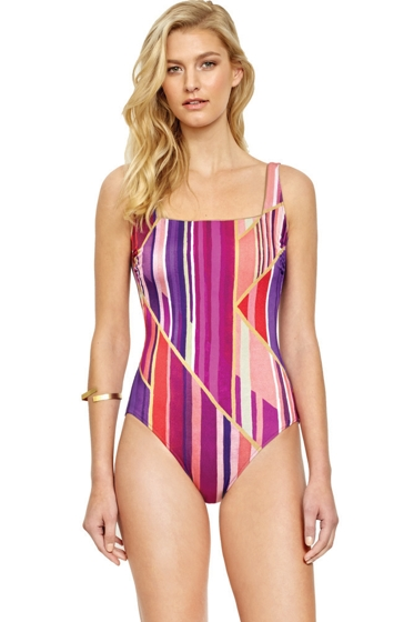 Gottex Art Deco Square Neck High Back One Piece Swimsuit