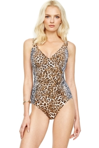 Gottex Cameroon Leopard Surplice One Piece Swimsuit