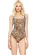 Gottex Cameroon Leopard Square Neck One Piece Swimsuit
