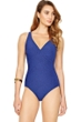 Gottex Essence Sapphire V-Neck Surplice High Back One Piece Swimsuit