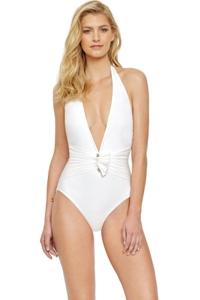 Gottex Grace Kelly Ivory Deep Plunge Halter One Piece Swimsuit