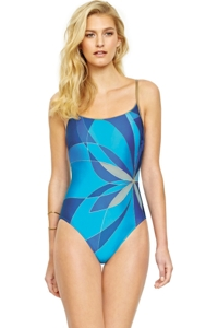 Gottex Kaleidoscope Mesh Inset Strappy Back One Piece Swimsuit