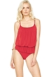 Gottex Lattice Red Underwire Mesh Blouson One Piece Swimsuit