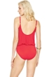 Gottex Lattice Red Underwire Blouson Surplice One Piece Swimsuit