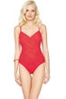 Gottex Lattice Red V-Neck One Piece Swimsuit
