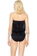 Gottex Lattice Black Mesh Blouson Bandeau One Piece Swimsuit