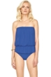 Gottex Lattice Royal Blue Mesh Blouson Bandeau One Piece Swimsuit
