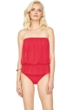 Gottex Lattice Red Mesh Blouson Bandeau One Piece Swimsuit