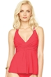 Gottex Lattice Red Flyaway Halter Tankini Top