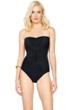Gottex Landscape Black Lace Up Bandeau One Piece Swimsuit