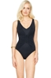 Gottex Landscape Black Lace Up V-Neck High Back One Piece Swimsuit