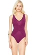 Gottex Landscape Cranberry Lace Up V-Neck High Back One Piece Swimsuit