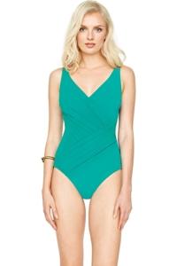 Gottex Landscape Emerald Surplice One Piece Swimsuit