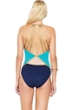 Gottex Maritime Blue V-Neck Strappy Back One Piece Swimsuit