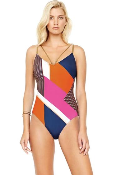 Gottex Maritime Orange V-Neck Removable Back Straps One Piece Swimsuit