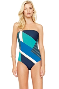 Gottex Maritime Blue Bandeau One Piece Swimsuit