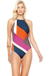Gottex Maritime Orange High Neck One Piece Swimsuit
