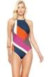 Gottex Maritime Orange High Neck One Piece Swimsuit