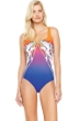 Gottex Ombre Iris Sunrise Square Neck High Back One Piece Swimsuit