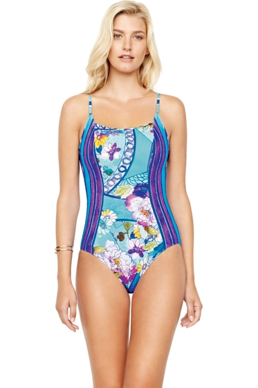 Gottex Samosir Square Neck High Back One Piece Swimsuit