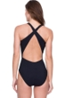 Gottex Amina Queen of the Maldives Black Embroidered Sequins High Neck Cross Back One Piece Swimsuit