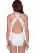 Gottex Amina Queen of the Maldives Ivory Embroidered Sequins High Neck Cross Back One Piece Swimsuit