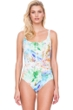 Gottex Aquarelle Green Zip Front Square Neck One Piece Swimsuit
