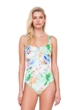 Gottex Aquarelle Green Zip Front Square Neck High Back One Piece Swimsuit