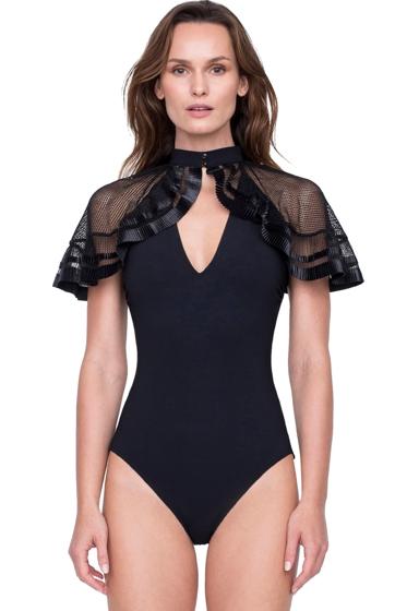 Gottex Aura Greek Goddess of the Breeze V-Neck Mesh Caped One Piece Swimsuit