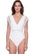 Gottex Aura Greek Goddess of the Breeze Flared Sleeve Deep Plunge One Piece Swimsuit