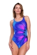 Gottex Belle Fleur Blue Mastectomy High Neck One Piece Swimsuit
