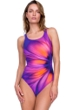 Gottex Belle Fleur Purple Mastectomy High Neck One Piece Swimsuit