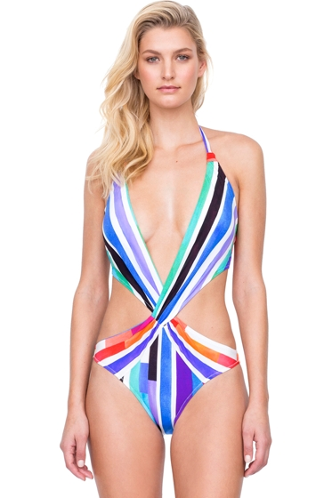 Gottex Carnival Plunge Halter Cut Out One Piece Swimsuit