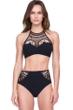 Gottex Cleopatra Queen of Egypt Black Mesh Embroidered High Neck Velvet Bikini Top with Matching Velvet Bikini Bottom