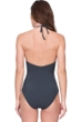 Gottex Catherine Duchess of Cambridge Grey Embroidered Lace High Neck Halter One Piece Swimsuit