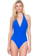 Gottex Divine Royal Blue V-Neck Halter One Piece Swimsuit