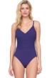 Full Coverage Gottex Divine Deep Purple V-Neck Lingerie High Back One Piece Swimsuit