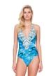 Gottex Felicity Blue Halter Tie Back One Piece Swimsuit