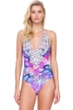Gottex Felicity Purple Halter Tie Back One Piece Swimsuit